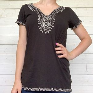 Lucky Brand Black Embroidered Cotton Top